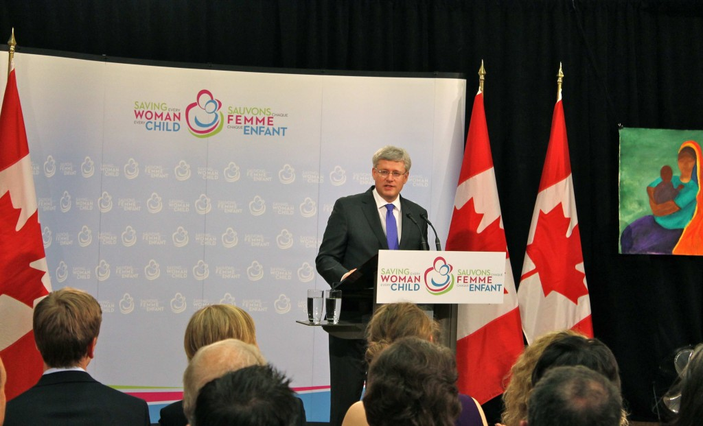 I took this photo of Prime Minister Stephen Harper during the Saving Every Woman, Every Child: Within Arm's Reach Summit. Harper announced $3.5 billion in funding for maternal and child health initiatives in the developing world. See the story at http://bit.ly/1iEHDaE.