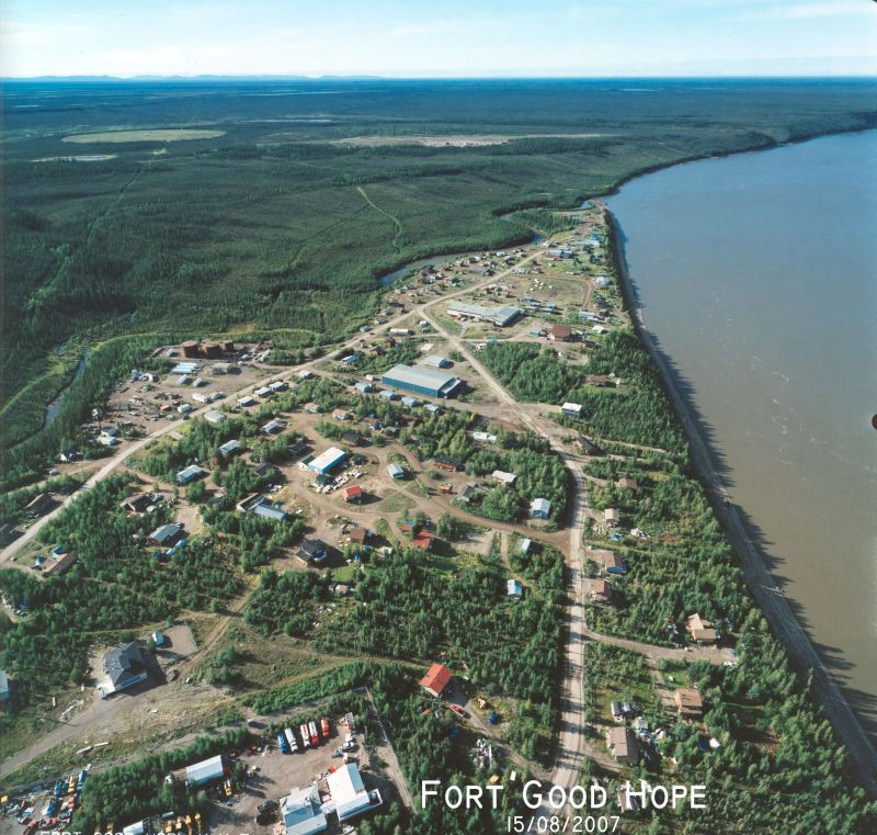 An aerial shot of the community of Fort Good Hope in the Northwest Territories. (Photo courtesy of the Northwest Territories Department of Municipal and Community Affairs)